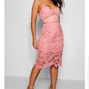 Lace panelled open back midi dress